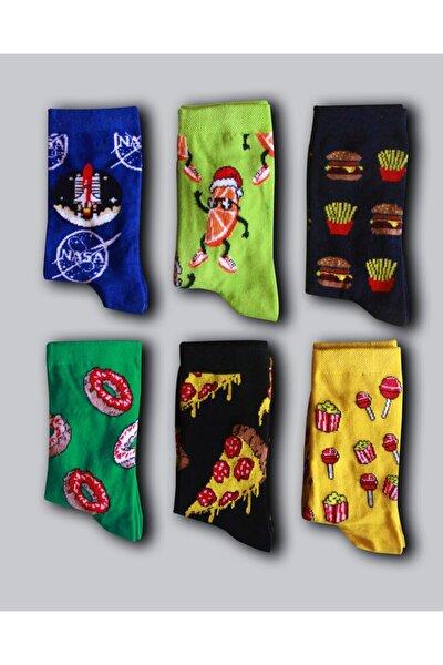 Unisex Desenli Renkli Çorap 6 Çift