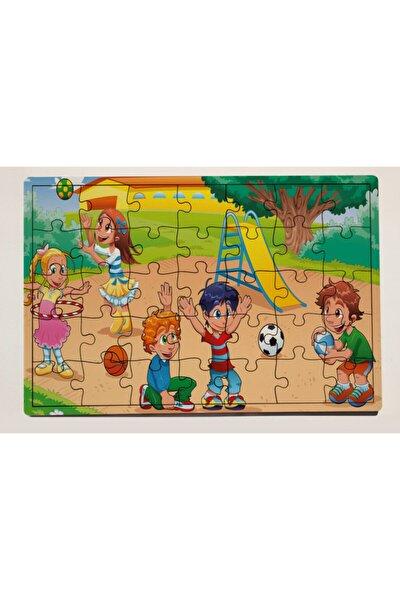 Oyun Parkı ve Çocuklar 35 Parça Ahşap Puzzle Yapboz