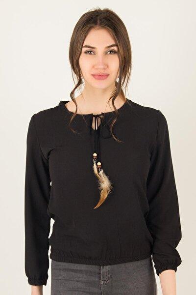 Kadın Siyah Tüy Detaylı İpli Bluz 1039