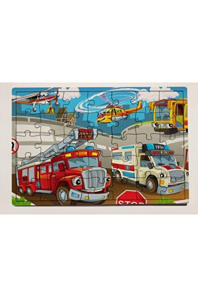 İtfaye ve Ambulans 35 Parça Ahşap Puzzle Yapboz