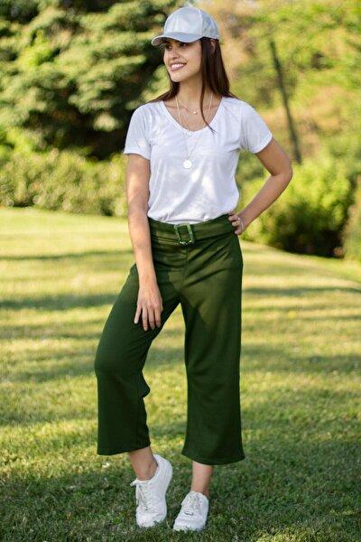 Kadın Haki Tokalı Kemerli Pantolon A1121