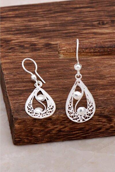 Kadın Telkari Damla Tasarım Gümüş Küpe 4630