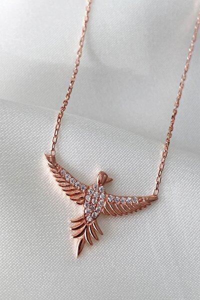 Kadın Minimal Anka Kuşu Gümüş Rose Kolye