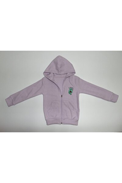 Kız Çocuk Lila Kapüşonlu Fermuarlı Sweatshirt