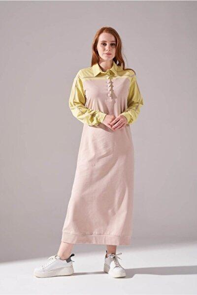 Kadın Sarı İki İplik Polo Elbise