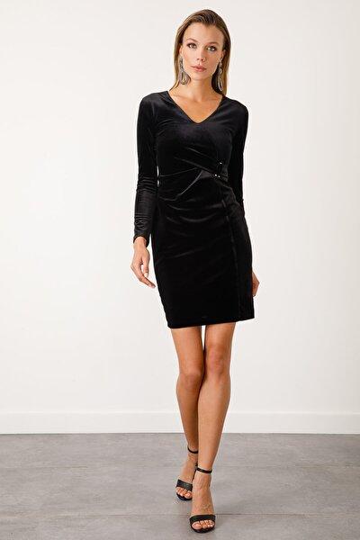 Kadın Siyah Kruvaze Kadife Elbise
