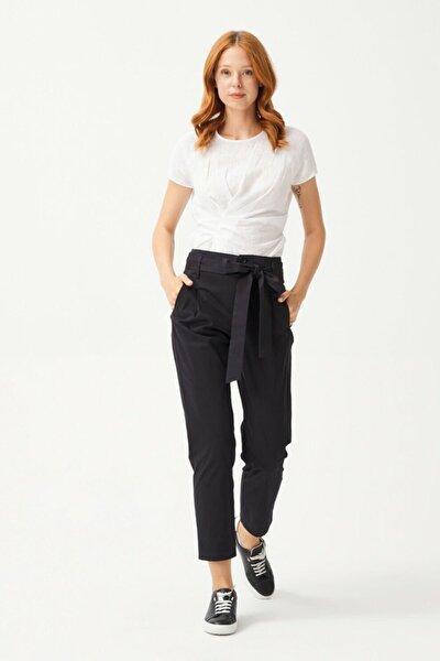 Kadın Siyah Düğmeli Pantolon