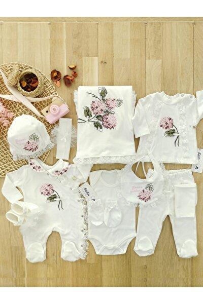 Kız Bebek Natural 10 Lu Hastane Çıkışı Kanaviçe Çiçek Desenli Doğal Defne Sabunlu Yenidoğan Seti