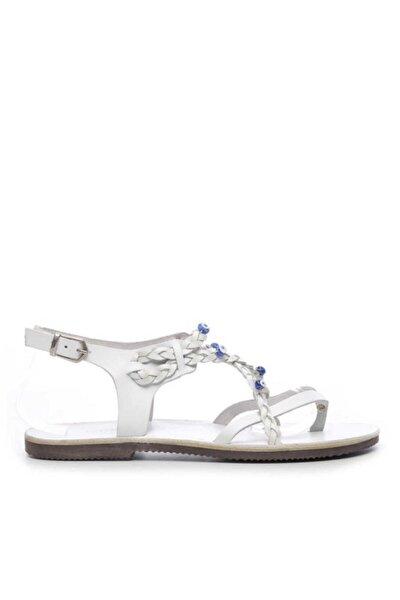 Kadın Beyaz  Hakiki Deri Nazar Boncuğu Detaylı Sandalet