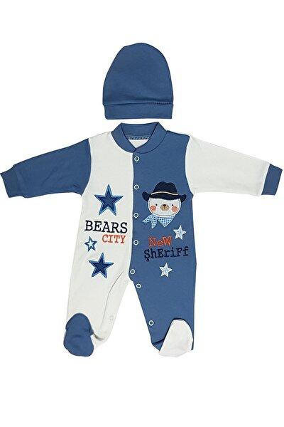 Unisex Bebek Mavi Beyaz Tulum