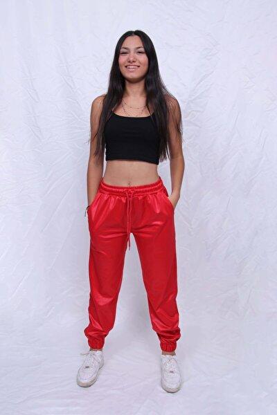 Kadın Kırmızı Deri Pantalon