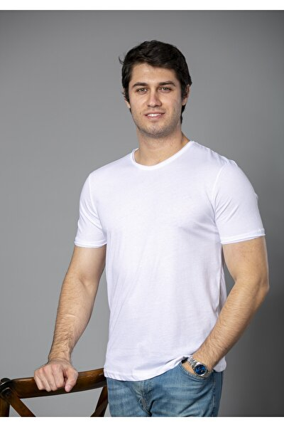 Erkek Beyaz  Pamuk Bisiklet Yaka  T-shirt