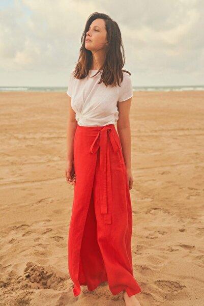Kadın Kırmızı Bol Paça Pantolon