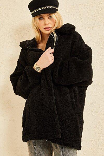 Kadın Siyah Fermuarlı Peluş Mevsimlik Ceket