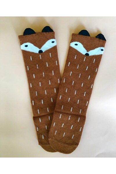 Unisex Kahverengi Tilki Desenli Bebek Ve Çocuk Dizaltı Çorap