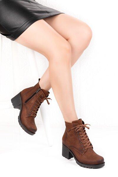 Kadın Kahverengi Süet Orta Topuklu Bot