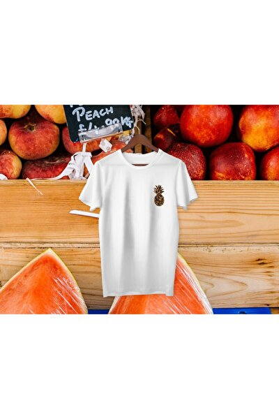 Unisex Beyaz Ananas T-shirt