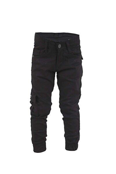 Erkek Çocuk Siyah Keten Kargocu Pantolon