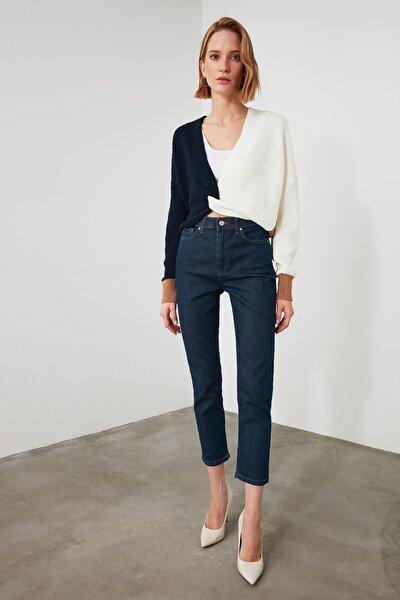 Lacivert Yüksek Bel Slim Fit Jeans TWOAW21JE0746