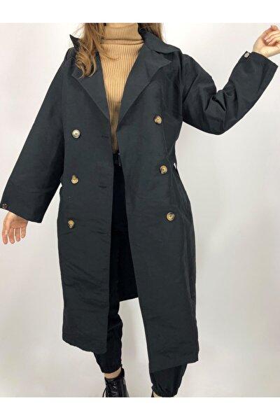 Kadın Siyah Düğmeli Uzun Trechcoat