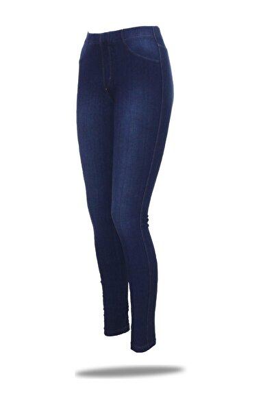 Kadın Mavi  Jean Streç Pamuklu Tayt