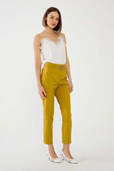 Kadın Sarı Lime Çift Kuşaklı Pantolon
