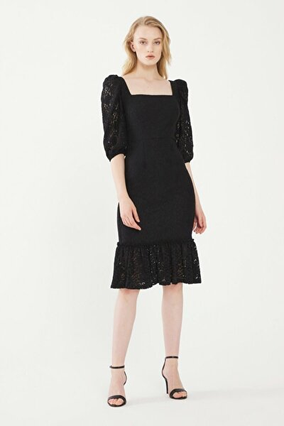 Kadın Siyah Dantel Elbise