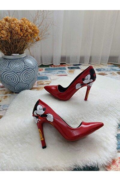 Kadın Kırmızı Rugan Mickey Mouse Stiletto