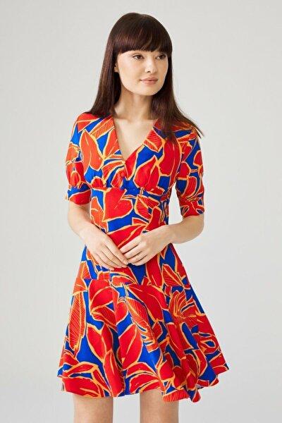 Kadın Coral Balon Kollu Elbise
