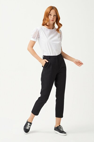 Kadın Siyah Pileli Pantolon
