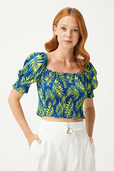 Kadın Yeşil Balon Kollu Gipeli Crop Bluz
