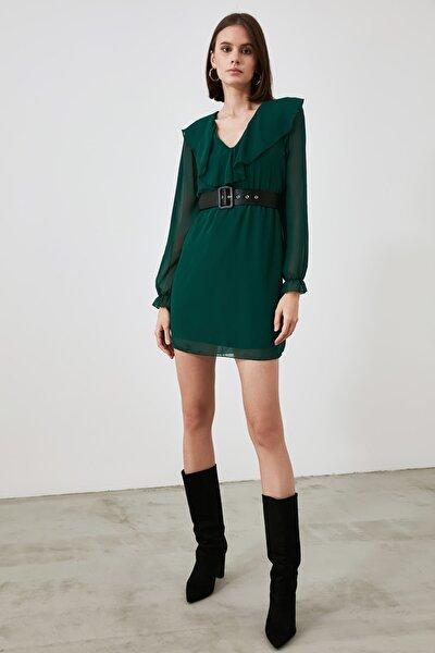 Yeşil Kemerli Elbise TWOAW21EL2231