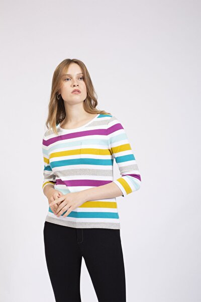 Kadın Bej Renkli Çizgili Basic Bluz