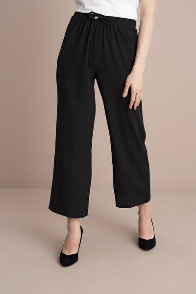 Kadın Siyah Bel Lastikli Bol Paça Pantolon