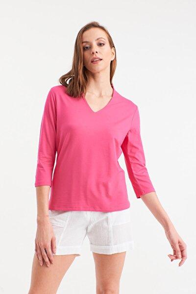 Kadın  Pembe V Yakalı Bluz