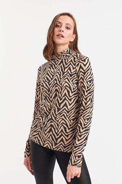 Kadın Kahverengi Balıkçı Yaka Desenli Bluz