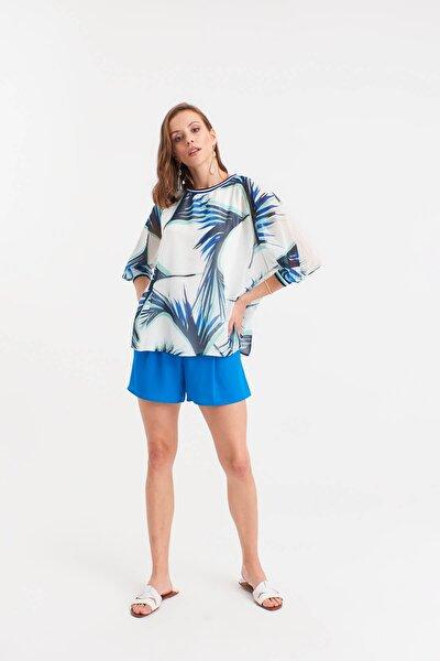 Kadın Beyaz Desenli Şifon Bluz