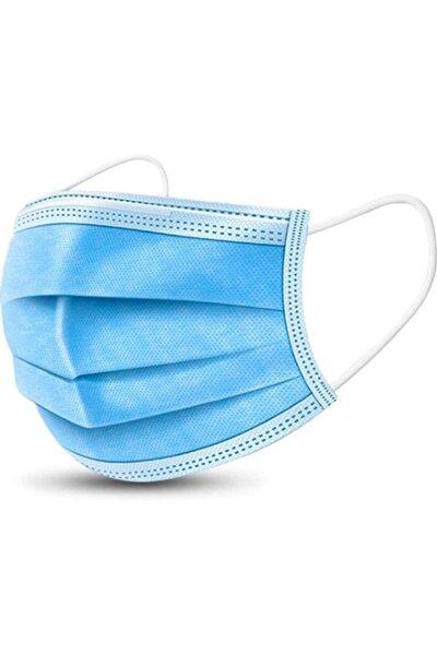 50 Adet Mavi 3 Katlı Burun Telli Lastikli Spunbond Medikal Maske