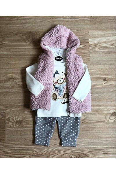 Kız Bebek Pembe Sweat Pantolon Yelek 3 Lü Takım , Kürklü Takım