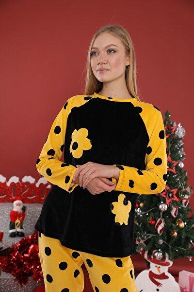 Kadın Sarı Dalton Pijama Takımı