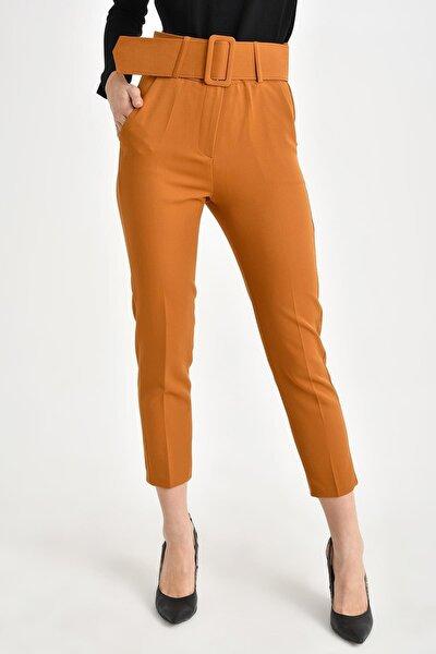 Kadın Hardal Kalın Kemerli Pantolon