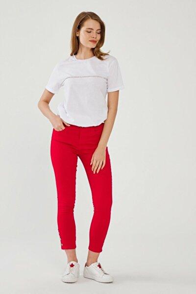 Kadın Kirmizi Paça Detaylı Pantolon