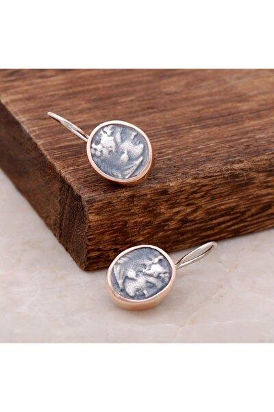 Kadın Antik Para Tasarımlı Gümüş El İşi Küpe 2595