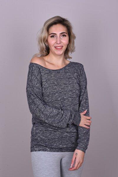 Kadın Gri Kirli Beyaz Renkli Düşük Omuz Uzun Kollu Bluz