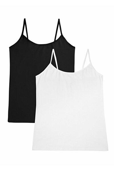 Kadın Siyah Beyaz Soft Touch Cotton İnce Askılı Atlet 2 'li