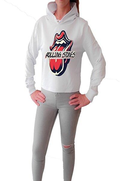 Kadın Beyaz Rolling Stone Crop  Sweatshirt
