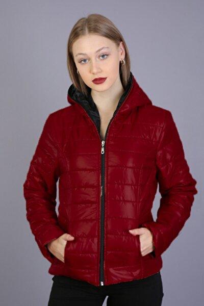 Kadın Kırmızı Fermuarlı Cepli Kapüşonlu Kapitone Şişme Mont