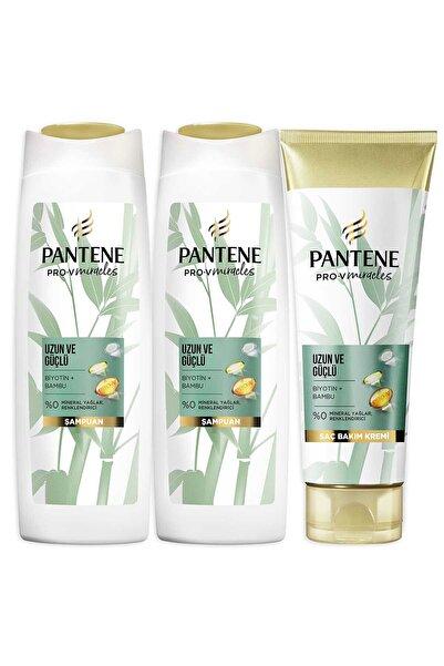 Uzun Güçlü Bambu Ve Biotinli Saç Bakım Seti Şampuan 2x 400 ml + Saç Kremi 275 ml