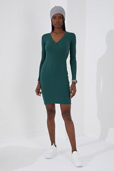 Kruvaze Yaka Yeşil Kadın Kaşkorse Elbise