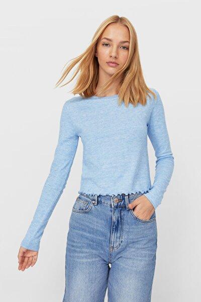 Kadın Açık Mavi Dalgalı Şeritli T-Shirt 06543192